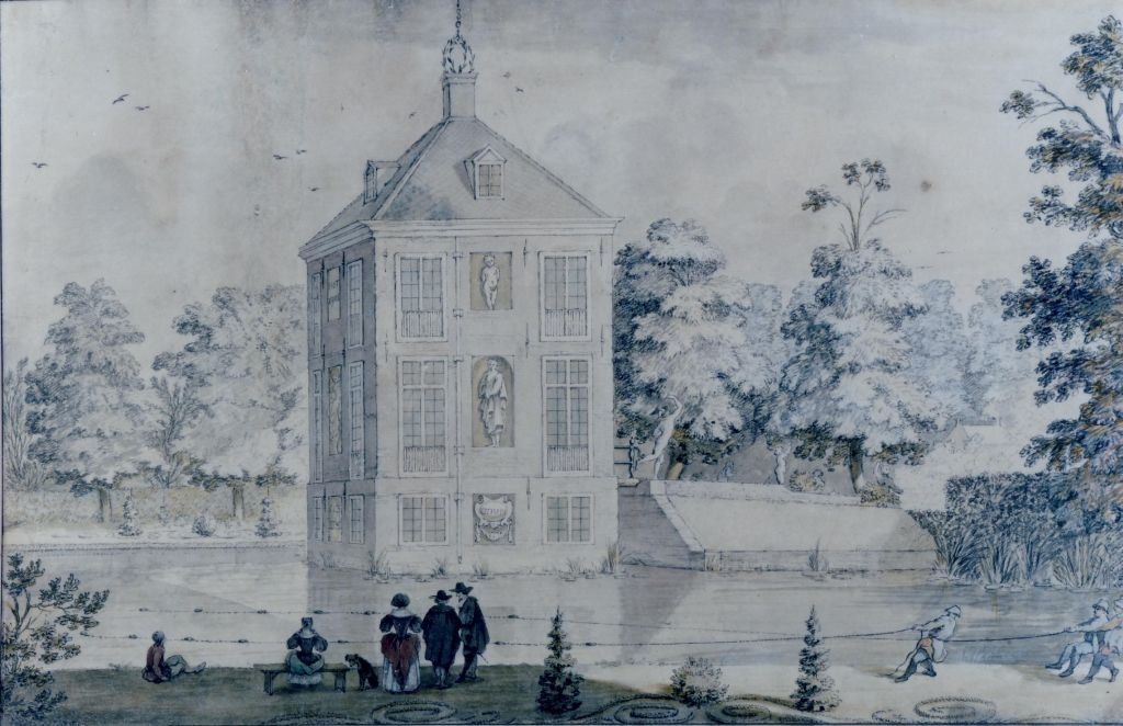 Gasten op Hofwijck. Tekening vermoedelijk I. de Moucheron, eind zeventiende eeuw. Collectie Huygensmuseum Hofwijck