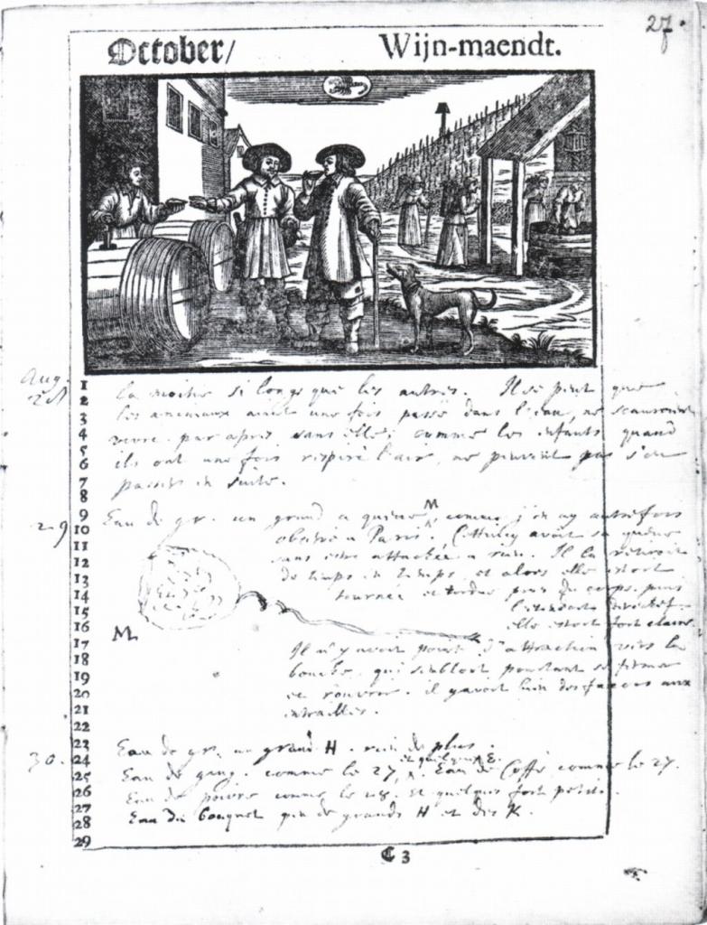 Almanakblad met onderzoeksnotities Christiaan Huygens gedaan op Hofwijck in 1692. Collectie Universiteitsmuseum Leiden