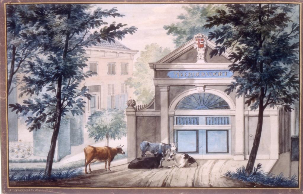 Toegangspoort Huis te Meerdervoort. Aquarel A. Schouman, 1741. Collectie Stadsarchief Dordrecht