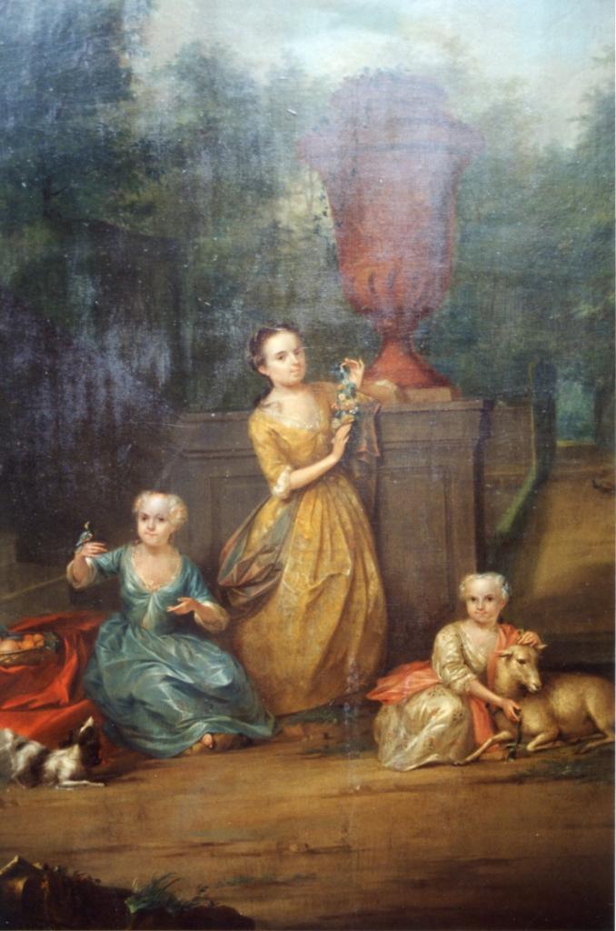 De drie zusters Pompe van Meerdervoort op de buitenplaats. Schilderij A. Schouman, 1736. Particuliere collectie