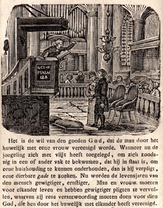 Enkele 19-de eeuwse opvattingen over het huwelijk. Gravure, 1825. Collectie auteur