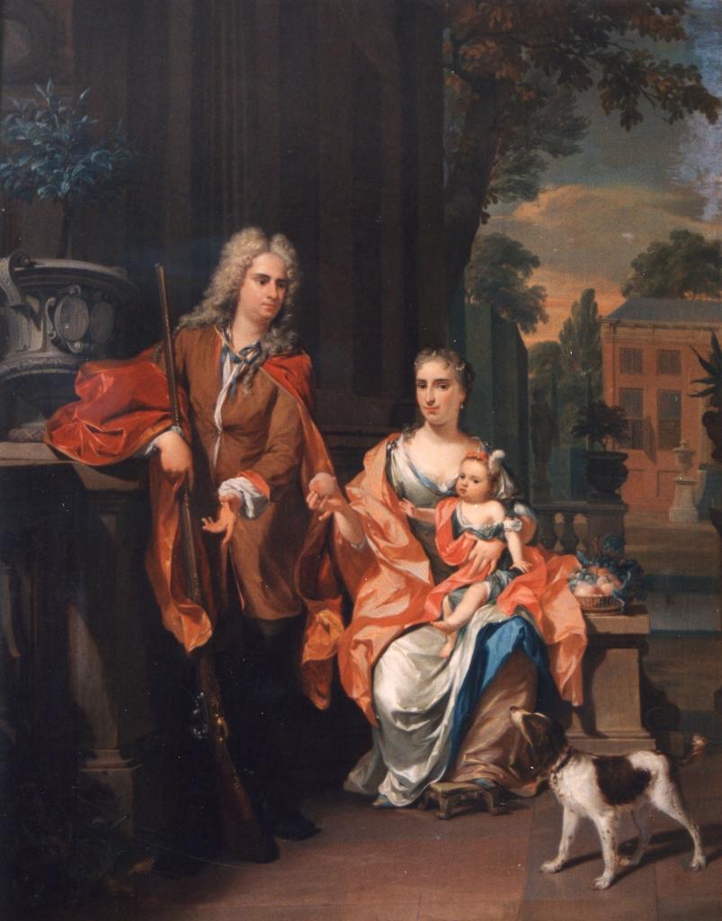 Johan Diederik Pompe van Meerdervoort met echtgenote en oudste dochter voor hun buitenplaats Meerdervoort. Schilderij N. Verkolje, 1724. Collectie Dordrechts Museum