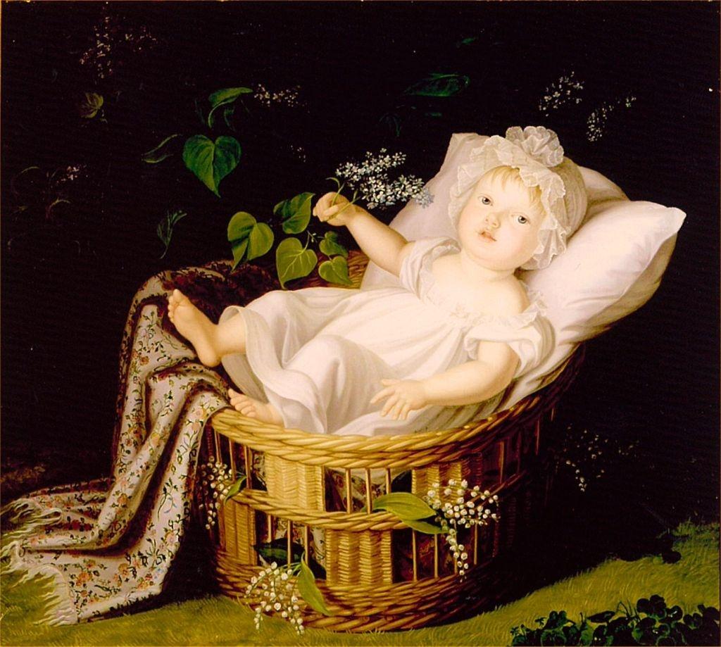 Marianne als baby in de wieg geschilderd door haar moeder. Schilderij Wilhelmina van Pruisen, 1811. Collectie Museum Nysa, Polen
