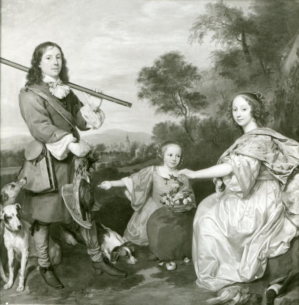 Mathijs Pompe van Slingeland, eigenaar Nederhoven, met tweede echtgenote Elisabeth Musch en dochter. Schilderij J. Mytens, 1655. Collectie Museum Stockholm