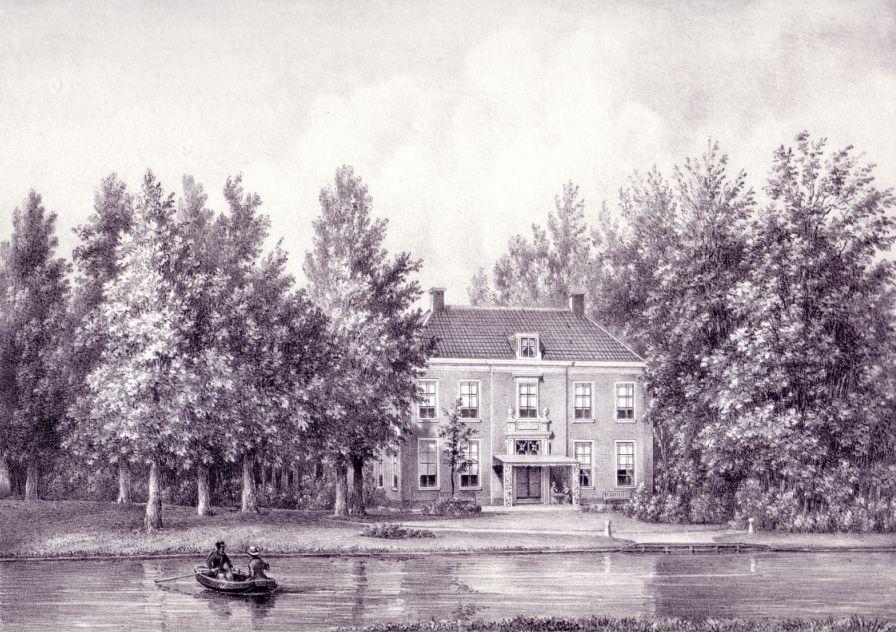 De buitenplaats Noordervliet aan de Vliet bij Voorburg. Litho P.J. Lutgers, 1855. Collectie auteur