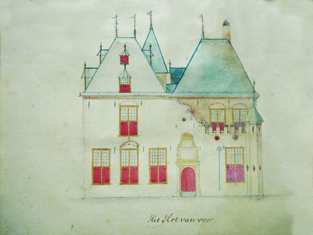 De voorgevel van Develstein, in 1741 getekend door eigenaar-bewoner Adam van Broeckhuijsen. Particuliere collectie