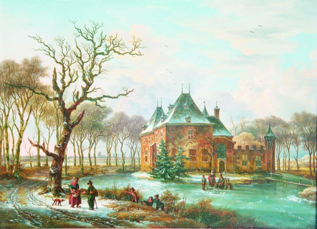 De winterse nadagen van Develstein. Schilderij A.J. Offermans, begin negentiende eeuw. Particuliere collectie